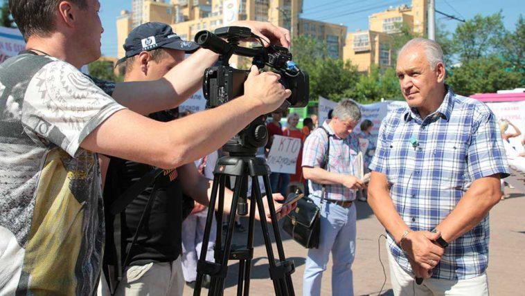 Геннадий Истомин на акции в защиту Сергея Копылова